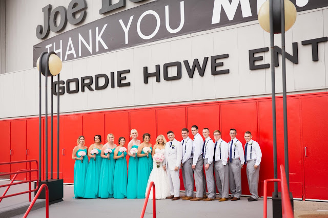 bridal party at Joe Louis Arena