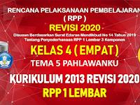 RPP 1 Lembar Kelas 4 Tema 5 SD/MI Kurikulum 2013 Revisi 2020 Tahun Pelajaran 2020 - 2021