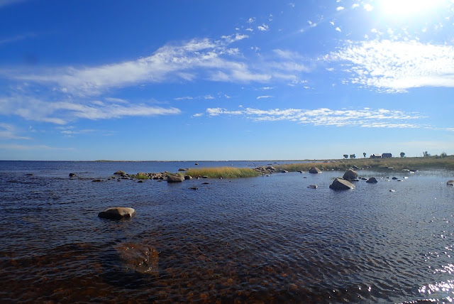 Sunny picture of rocky shore.