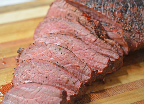 Beef Tri-tip roast cooked on a Big Green Egg kamado grill.