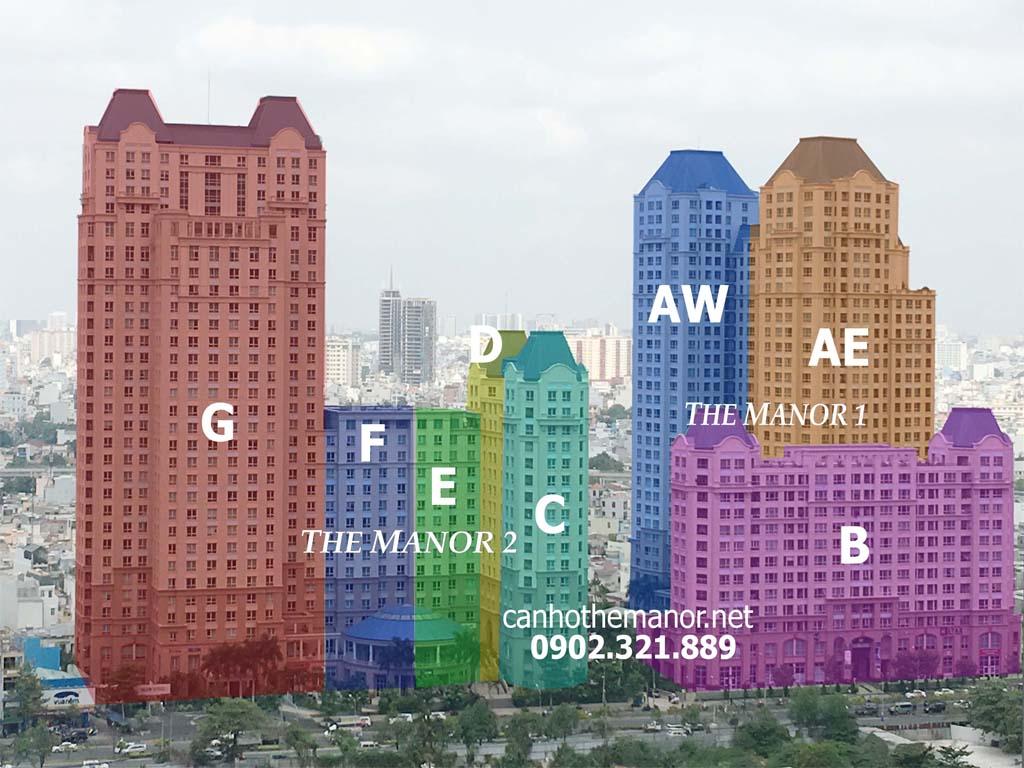 Vị trí các block căn hộ tại The Manor đường Nguyễn Hữu Cảnh.