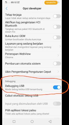 Menyalakan Debugging USB