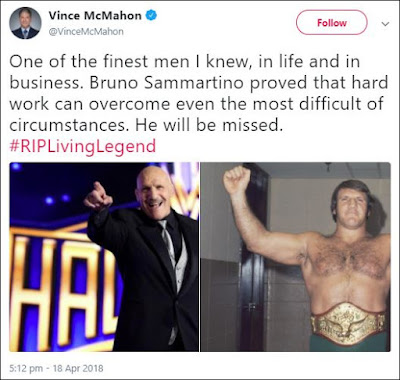 Vince McMahon Tweets About Bruno Sammartino