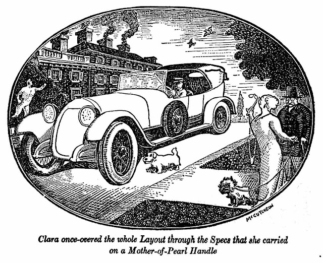 a John P. McCutcheon illustration, Clara inspected the whole layout through the spectacles that she carried on a mother-of-pearl handle