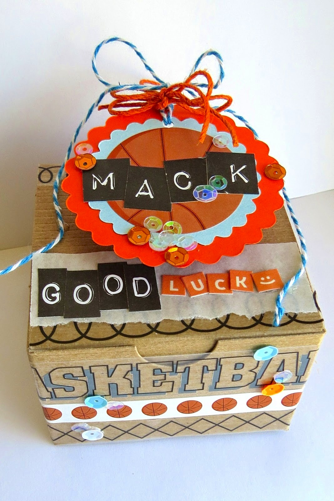 SRM Stickers Blog - A Gift of Good Luck by Shannon - #basketball #gift #kraftbox #punchedpieces #stickers #twine #punchedpieces #DIY