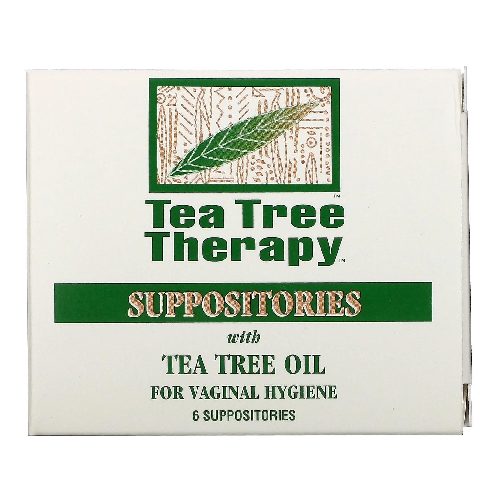 Tea Tree Therapy, cвечи с маслом чайного дерева для гигиены влагалища, 6 свечей