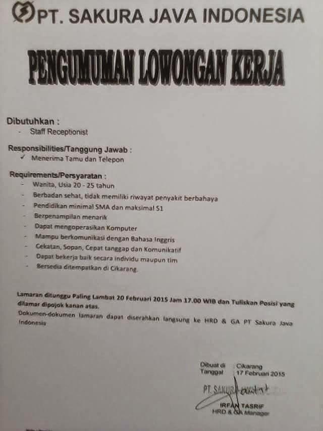 Lowongan Kerja Terbaru Pt Sakura Java Indonesia Cikarang Ejip