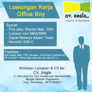 Info Lowongan Kerja Office Boy CV. Angle Yogyakarta Cleaning service