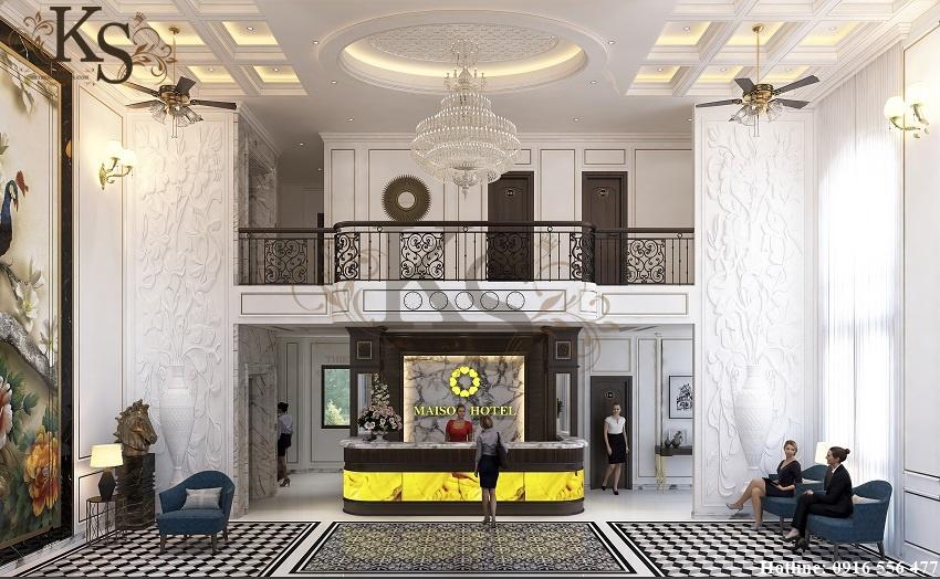 Hình ảnh: Thiết kế nội thất khách sạn La MaiSon khu vực sảnh lễ tân tiếp khách sang trọng và lịch sự.