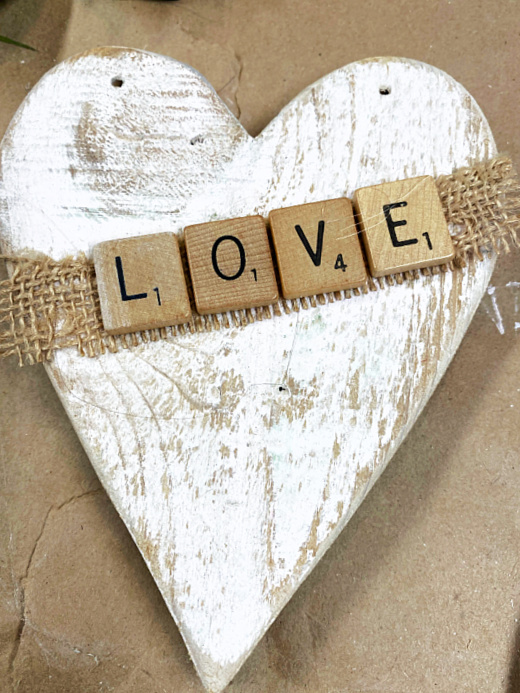 burlap and scrabble letters that say LOVE