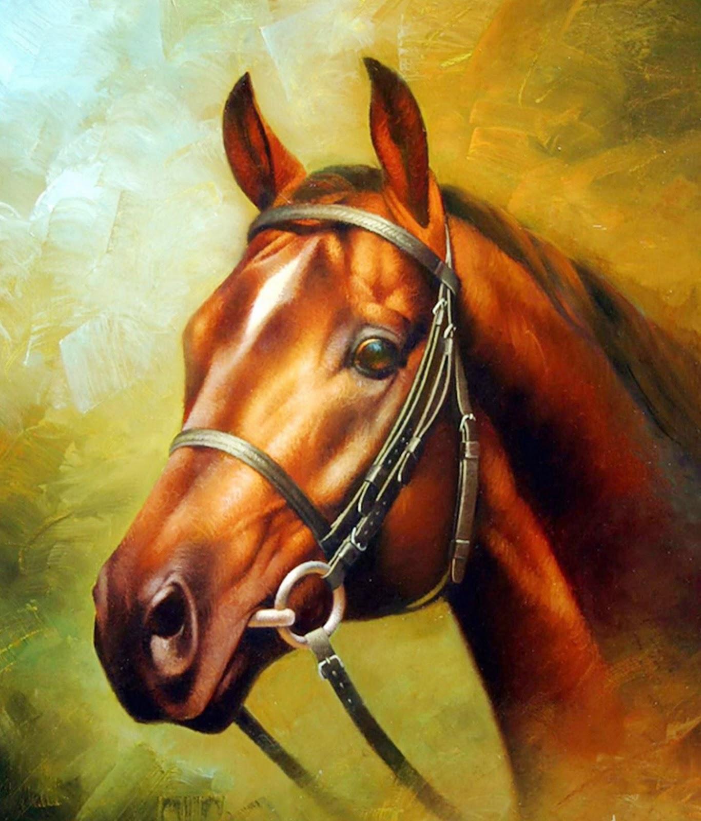 Cuadros modernos pinturas y dibujos cuadros de caballos al leo por brahins kiy arthur - Cabezas animales tela ...