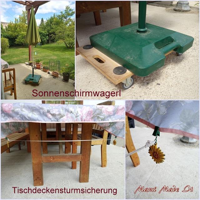 Sonnenschirmwagerl und Tischdeckensturmsicherung - Sun umbrella transport dolly and Tablecloth storm protection