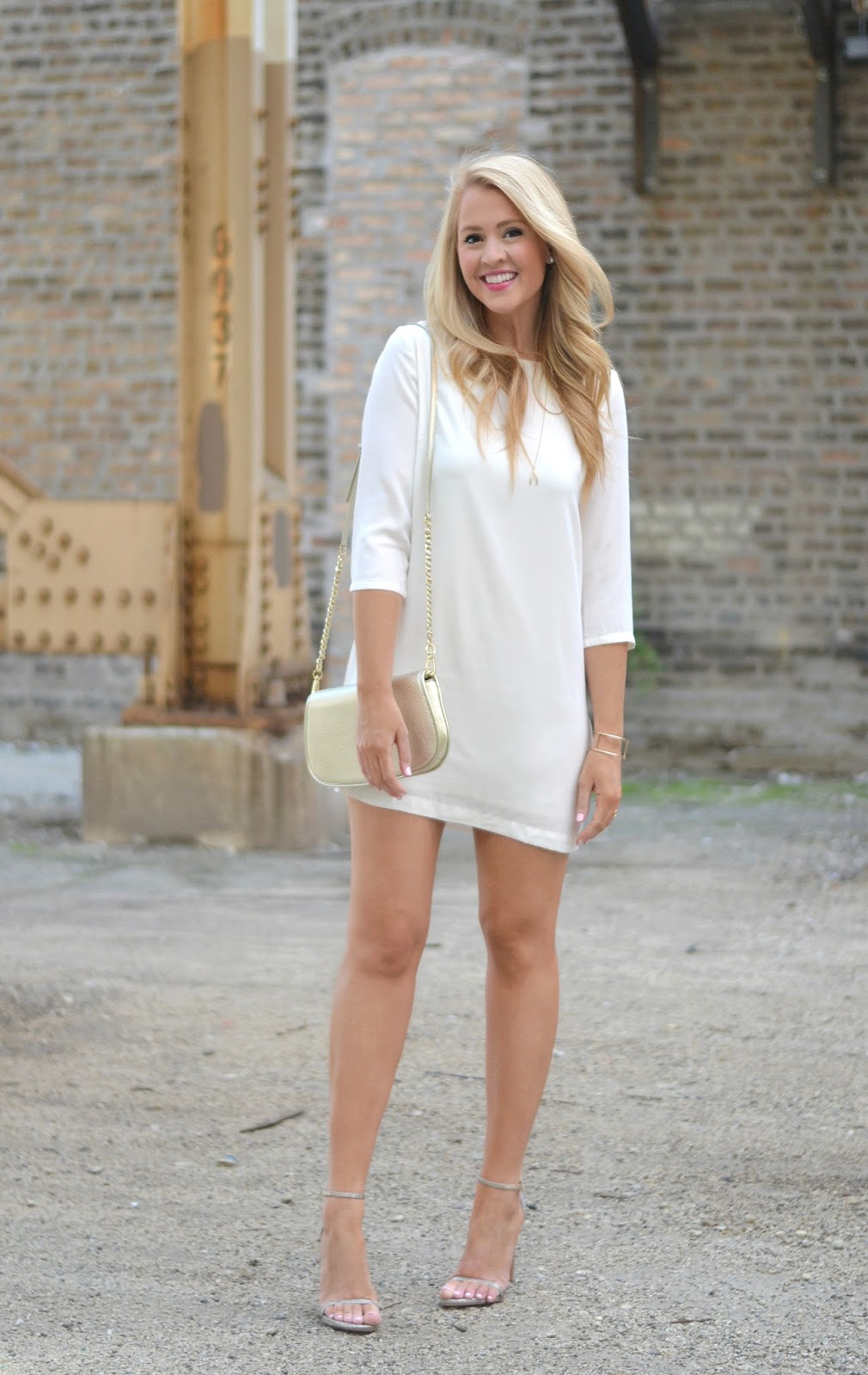 ivory long sleeve dress with stuart weitzman nudist sandal