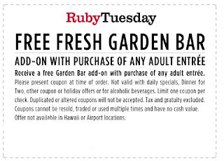 Save with 10 Ruby Tuesday coupons and sales for December, Today's top offer: $ Off. Coupon Sherpa, #1 in coupons.
