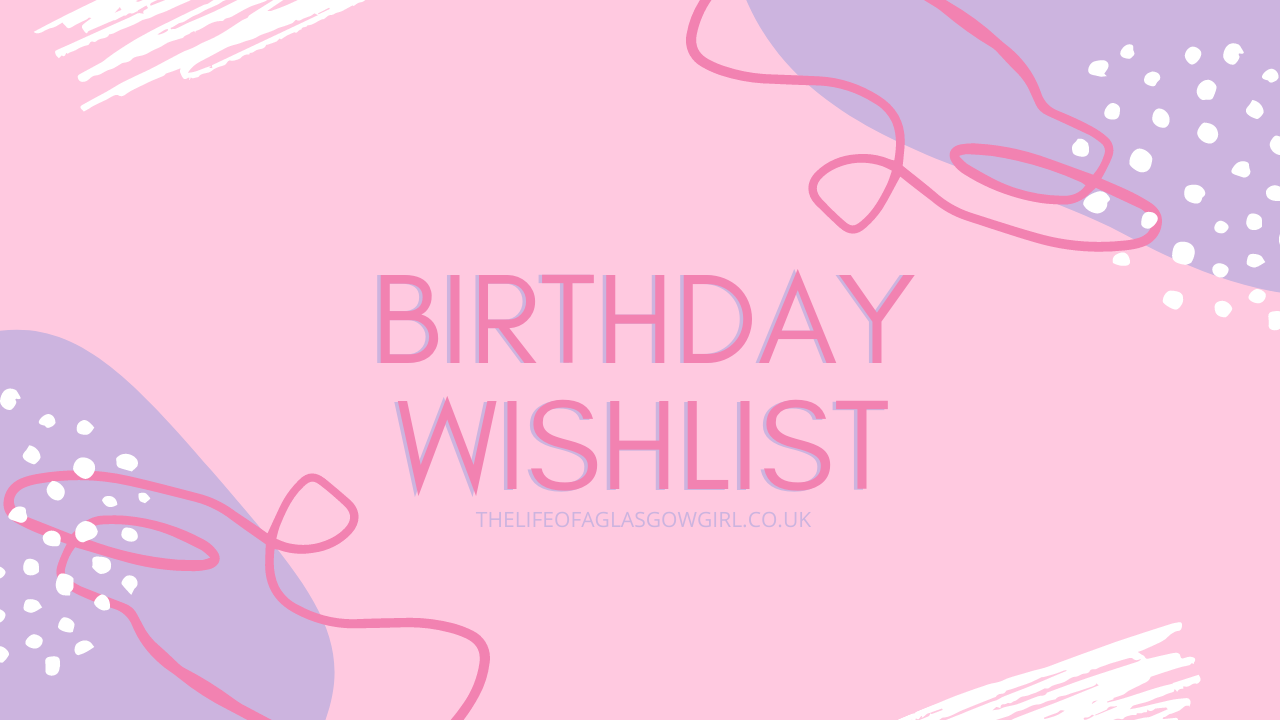 """Main blog post graphic that is pink with the words """"Birthday Wishlist"""" on it"""