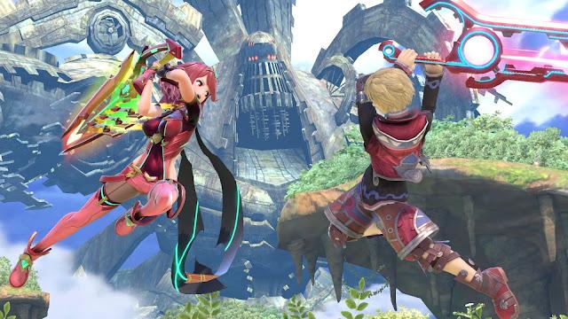 Pyra e Shulk em Super Smash Bros. Ultimate