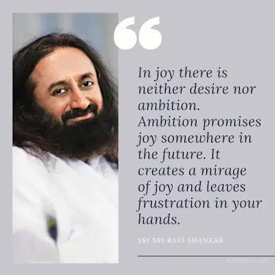 In joy there is neither desire nor ambition. Ambition promises joy somewhere in the future. It creates a mirage of joy and leaves frustration in your hands.
