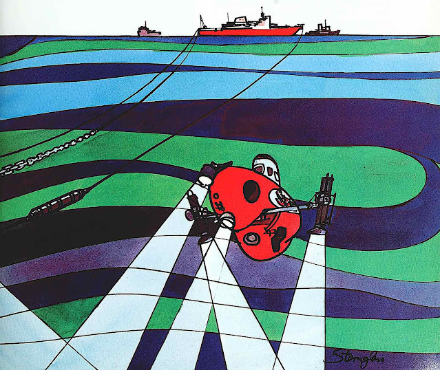 a 1966 stylized illustration of a submarine