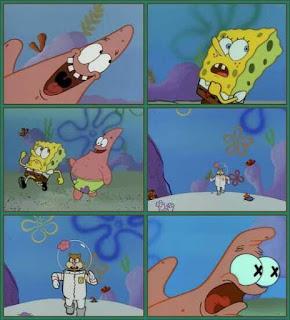 Polosan meme spongebob dan patrick 66 - dikejar-kejar sandy