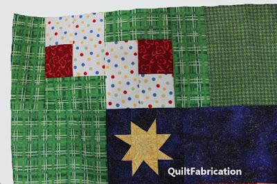 log cabin quilt blocks in a quilt border corner