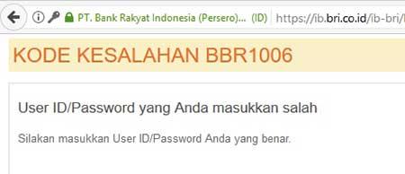 Solusi Mengatasi Kode Kesalahan BBR1006 Internet Banking BRI