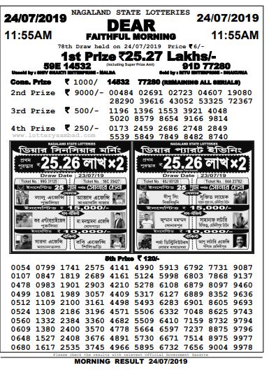dear faithful morning 24-07-2019,lottery sambad