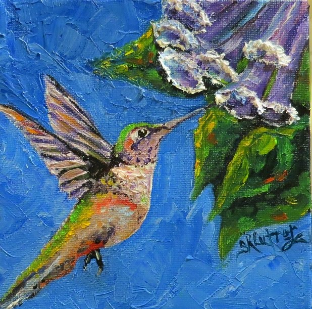 Hummingbird with Purple Flowers, original in oils