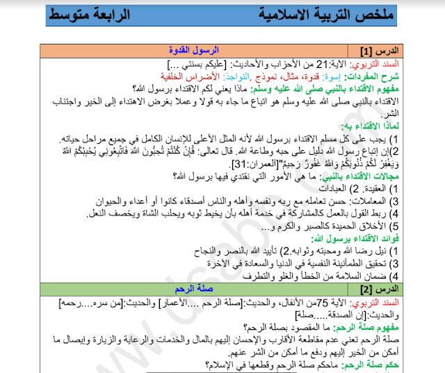 ملخص دروس التربية الاسلامية للسنة الرابعة 4 متوسط الجيل الثاني