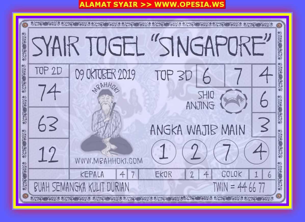 Kode syair Singapore Rabu 9 Oktober 2019 111
