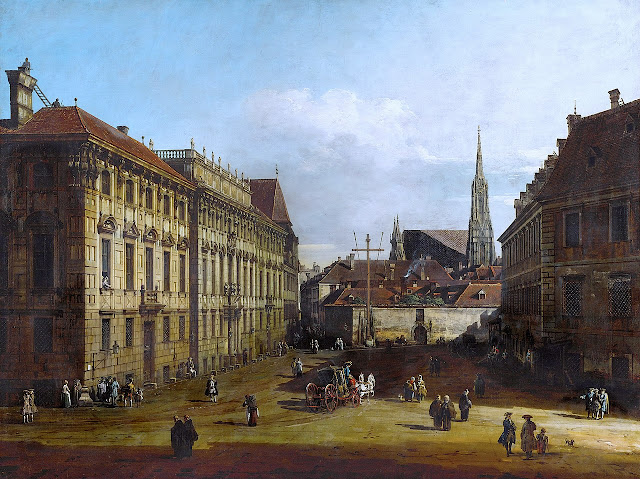 Palais Lobkowitz (on the left) in Vienna; painting by Bernado Bellotto, about 1760