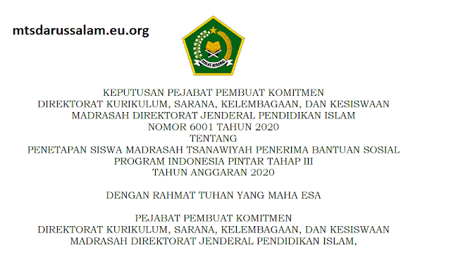 SK Dirjen Pendis Dan Lampiran Nomor 6001 Tahun 2020 Tentang Penetapan Siswa MTs Penerima Bansos PIP Tahap III Jatim Tahun 2020
