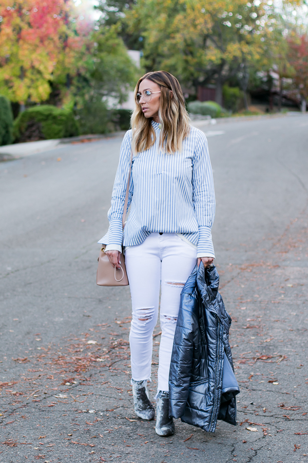 winter white style ripped jeans