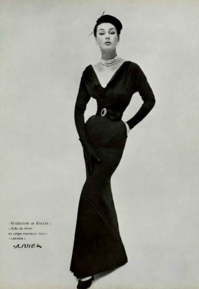 Model in ad for Madeliene de Rauch 1952 Evening Dress