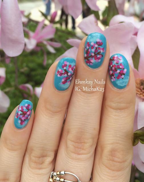 Ehmkay Nails Shy Bunny Easter Nail Art: Ehmkay Nails: Cherry Blossoms Nail Art With Zoya Nail Polish