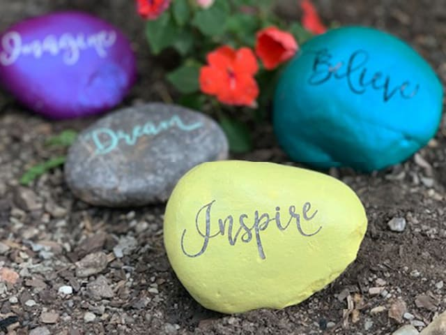 imagine, believe, inspire, dream kindness rocks