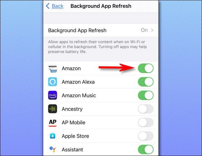 """في إعدادات """"تحديث التطبيقات في الخلفية"""" ، يمكنك تشغيل الميزة أو إيقاف تشغيلها للتطبيقات الفردية."""