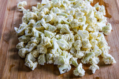Roasted Cauliflower Salad with Feta, Capers, Red Bell Pepper, and Green Onion found on KalynsKitchen.com