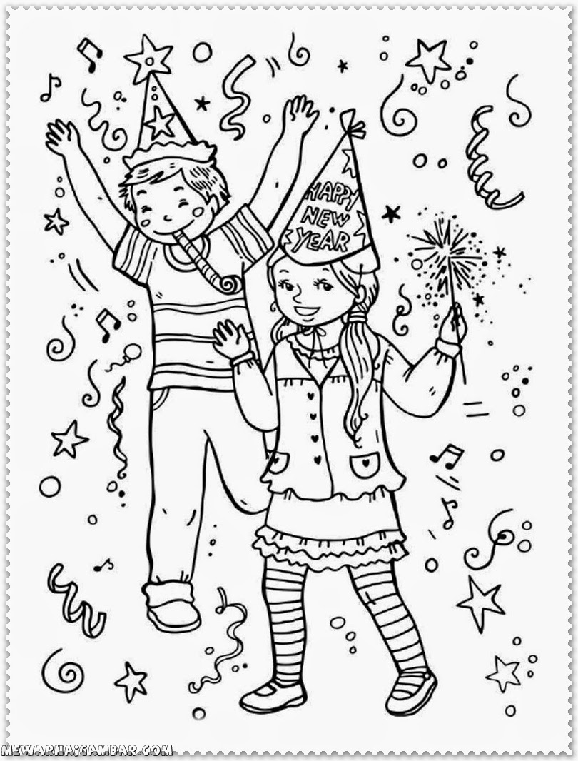 New Year Coloring Pages Free