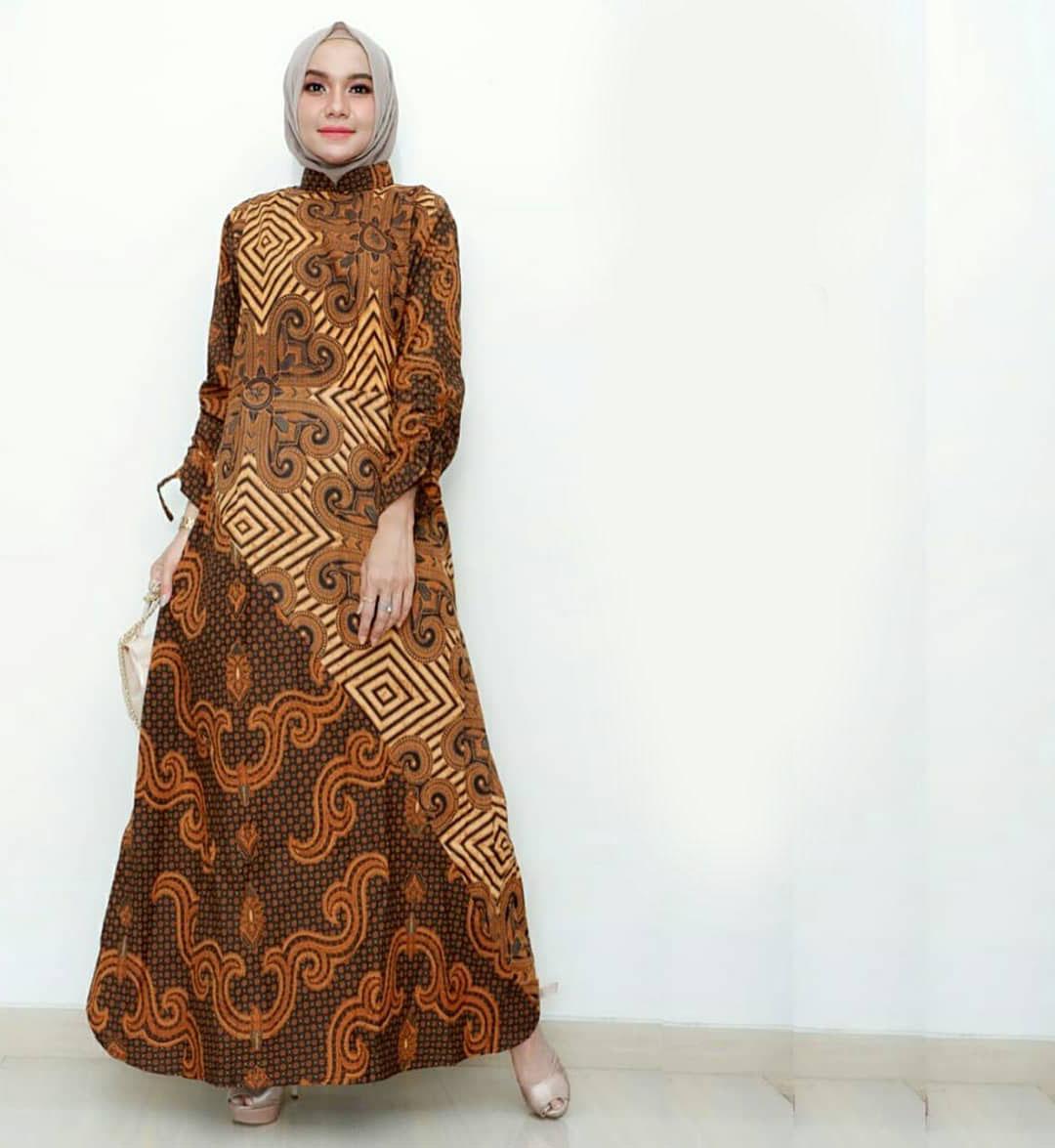 32 Vogue Gamis Batik Pesta Kombinasi Satin Sifon Brokat