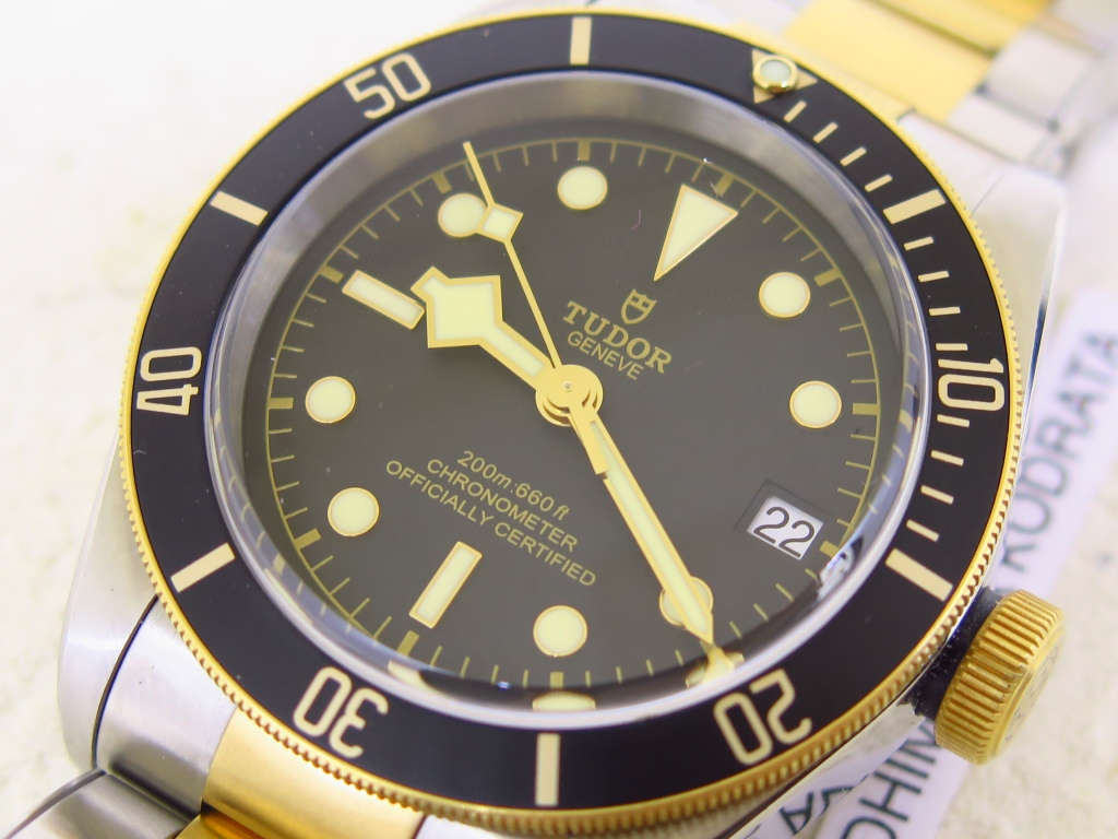TUDOR BLACK BAY BLACK DIAL 41mm BLACK BEZEL 79733N - AUTOMATIC TUDOR MT5612 - RIVET TWO TONE STEEL