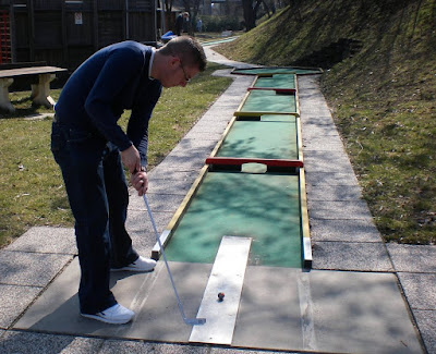 Playing Feltgolf at the Askoe Wien Wasserpark in Vienna, Austria
