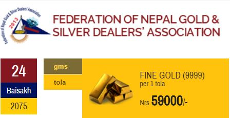Baishakh 24 2075 Gold Price In Nepali Market