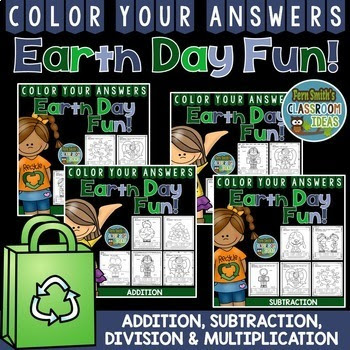 Earth Day Color By Numbers Addition, Subtraction, Multiplication, and Division Bundle