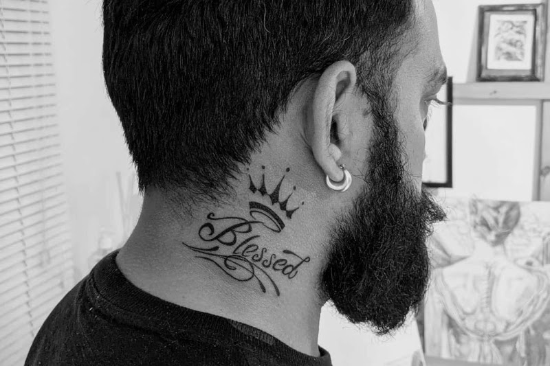 Blessed, Written text (quotes, words and alphabet) Neck tattoos