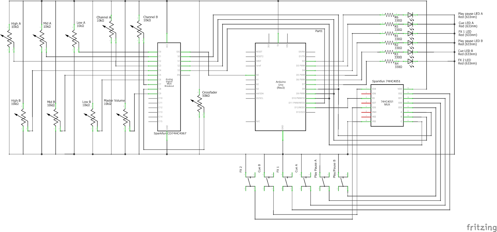 here is the schematic for the overall circuit and a fritzing wiring diagram  [ 1600 x 746 Pixel ]