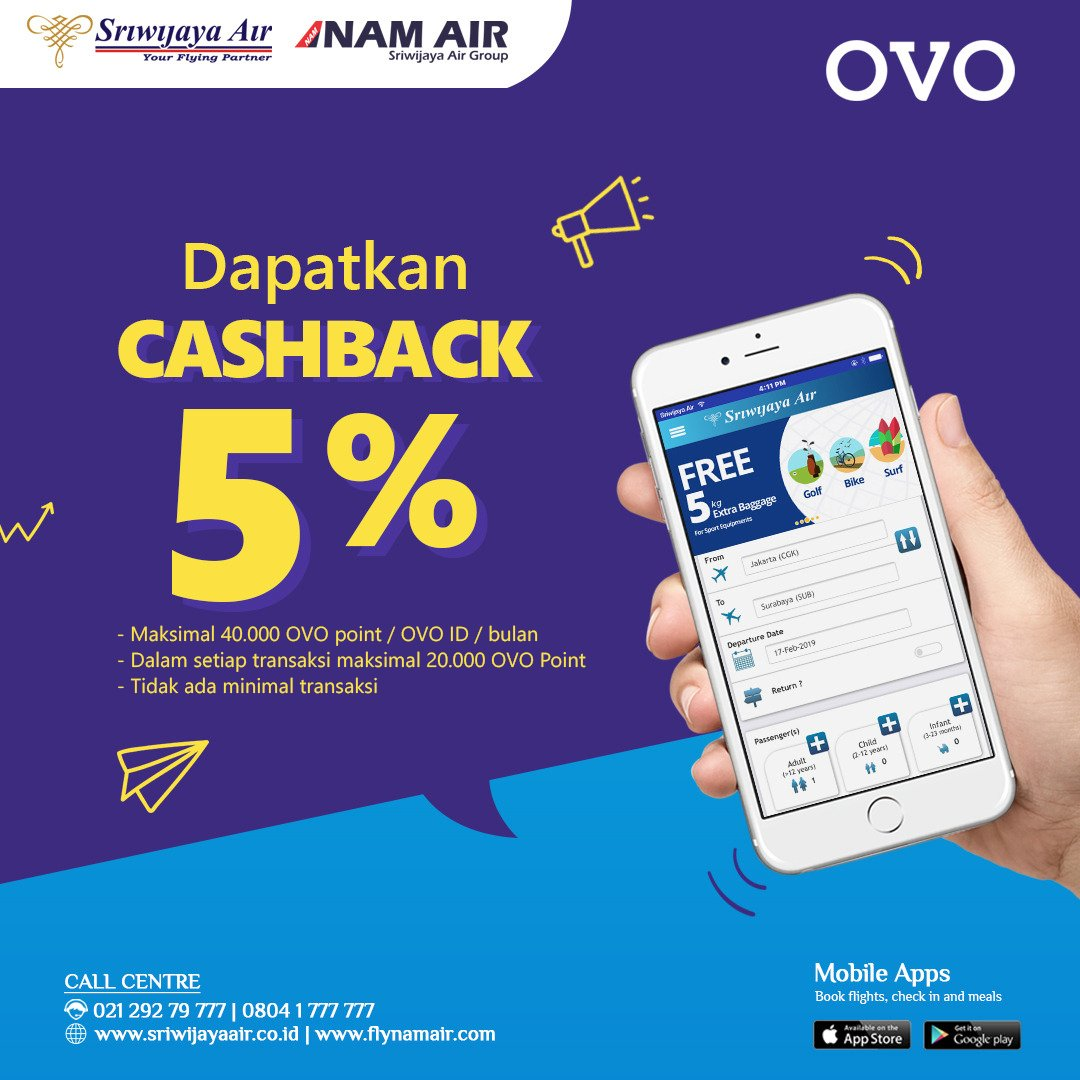 #SriwijayaAir - #Promo Cashback 5% Beli TIket Pakai OVO Point