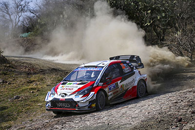 Toyota Yaris World Rally Car Drifting on gravel