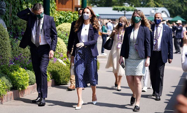 Kate Middleton wore a new pleated polka-dot silk midi skirt by Alessandra Rich, and duchess wool blazer by Smythe