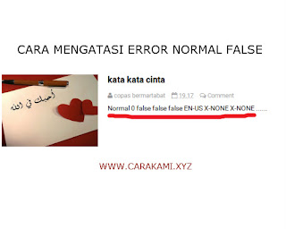 cara atasi error normal 0 false pada postingan blog