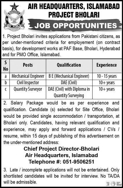 Pakistan Air Force headquarter Jobs 2021